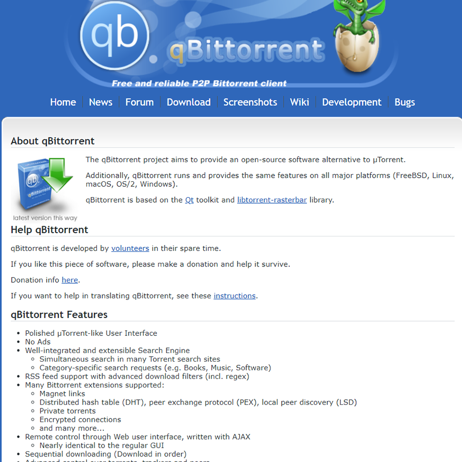 qBittorrent - https://www.qbittorrent.org